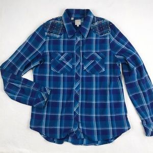 GUESS Flannel Button-Up with Studded Shoulders